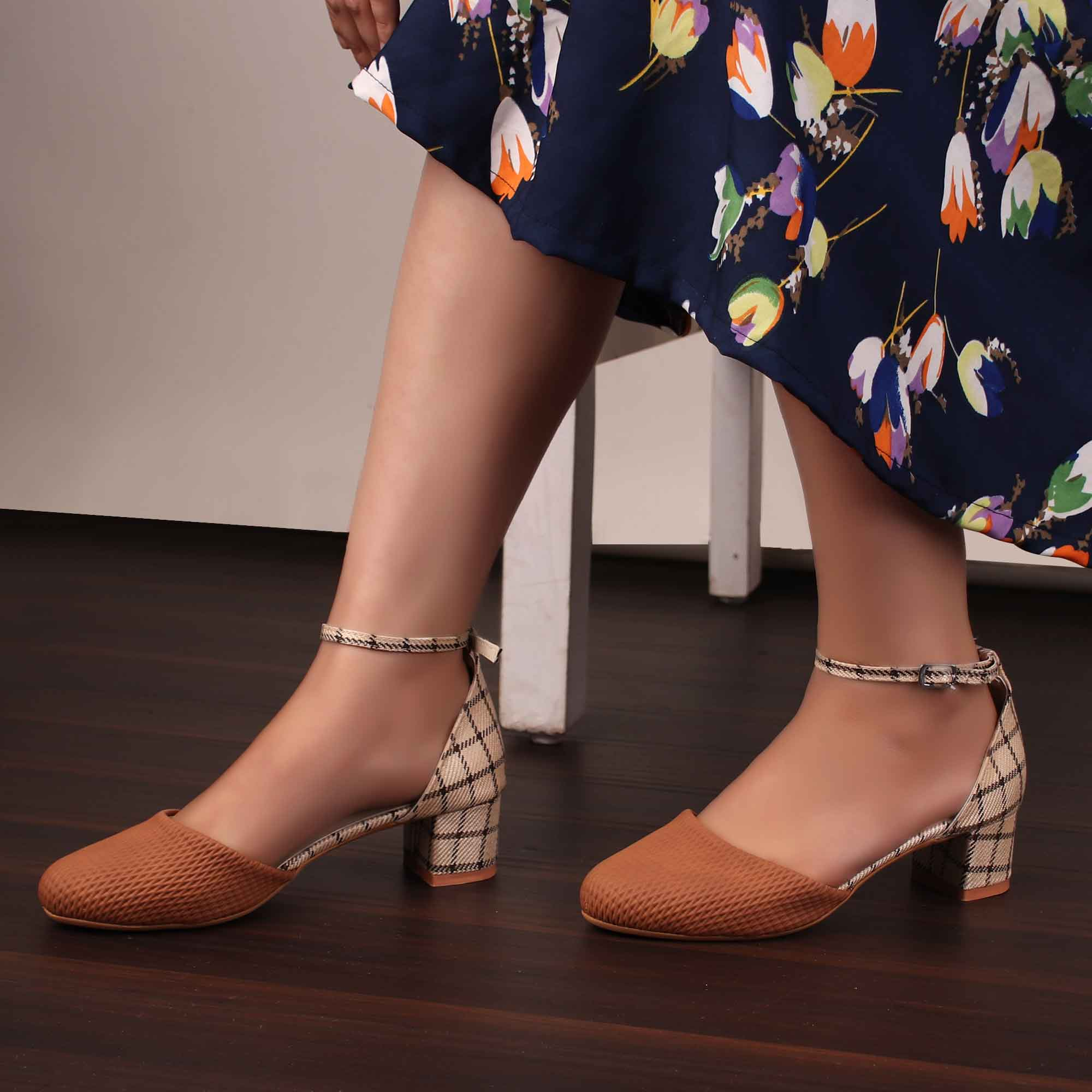 Foot Wear,The Interweave Checked Tan Block Heels - Cippele Multi Store