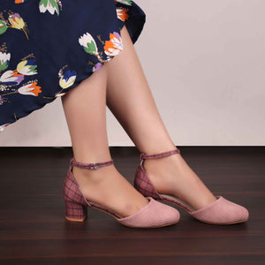 Foot Wear,The Interweave Checked Pink Block Heels - Cippele Multi Store