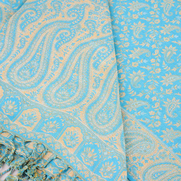 Stole,The Sultani Art Reversible Stole in Light Blue - Cippele Multi Store