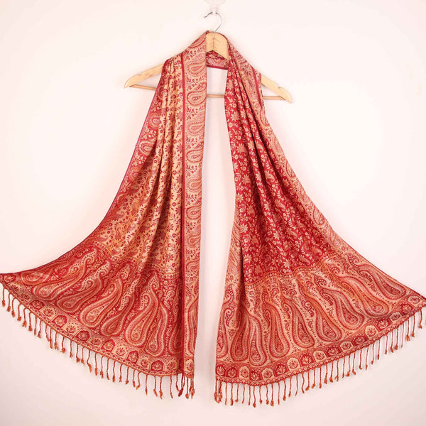 Stole,The Sultani Art Reversible Stole in Red - Cippele Multi Store