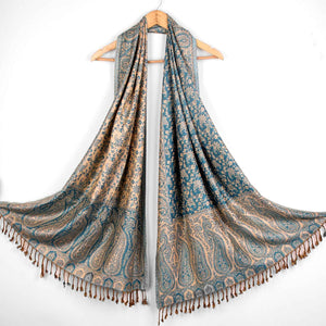 Stole,The Sultani Art Reversible Stole in Blue - Cippele Multi Store