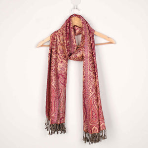 Stole,The Sultani Art Reversible Stole in Wine - Cippele Multi Store