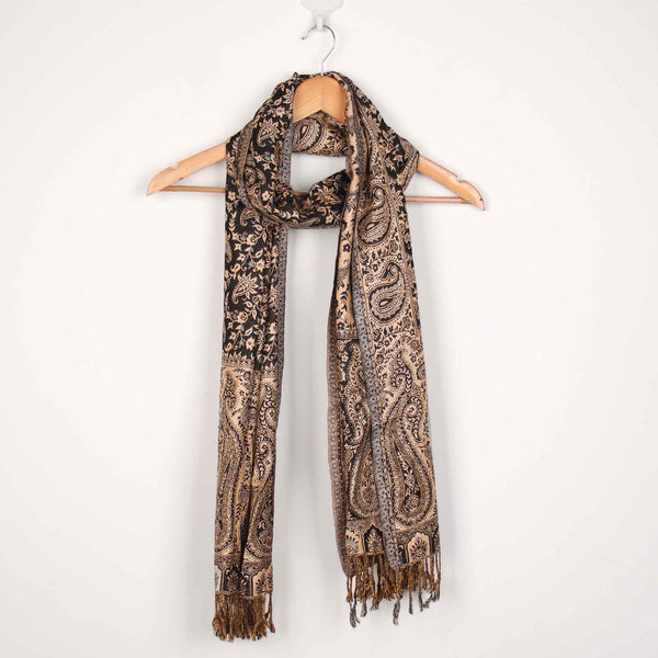 Stole,The Sultani Art Reversible Stole in Black - Cippele Multi Store