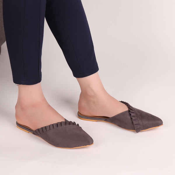 Foot Wear,The Suede Foliate Mule in Grey - Cippele Multi Store