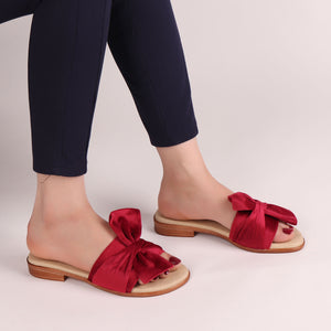 Foot Wear,The knotted Flats in Red - Cippele Multi Store