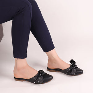 Foot Wear,The Kitten Bow Flats in Black - Cippele Multi Store