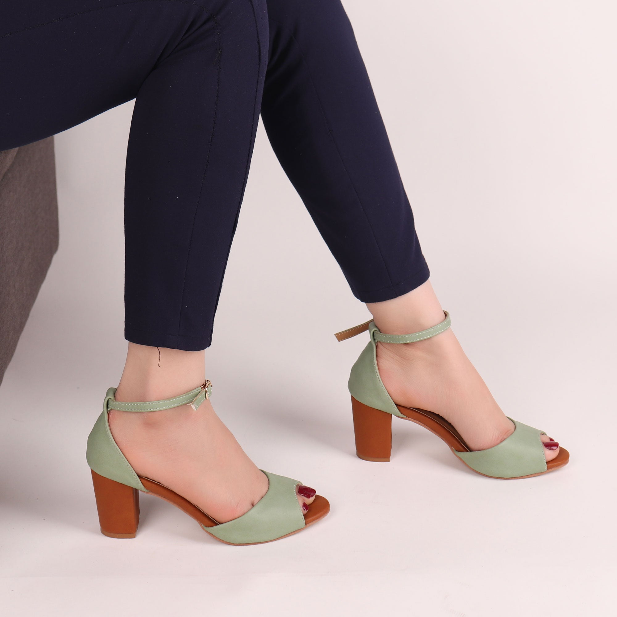 Foot Wear,The fashionista Block Heels In Green - Cippele Multi Store