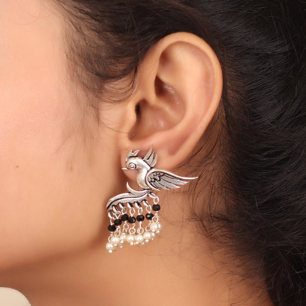 Fly with the Bird Silver Look Alike Earring with Black & White Pearls