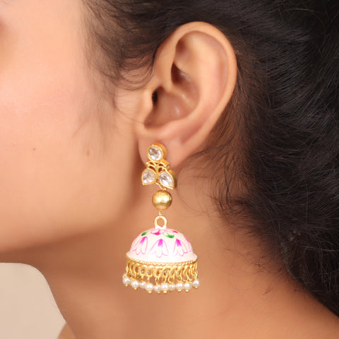 Hand painted Exquisite Jhoomar with Faux Pearl