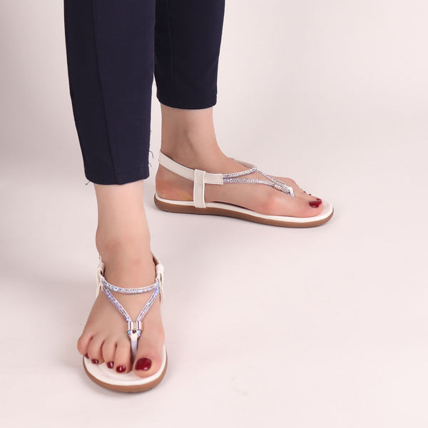Foot Wear,The Energetic Flats in White - Cippele Multi Store