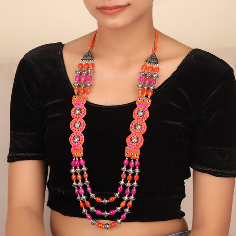 Intriguing Bohemian Necklace in Pink and Orange