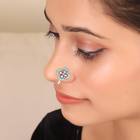 The Butterfly Nose Pin in Turquoise Blue
