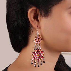 The Vibrant Cosmic Meenakari Earrings in Pink & Orange
