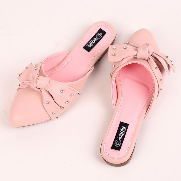 The Kitten Bow Flats in Pink