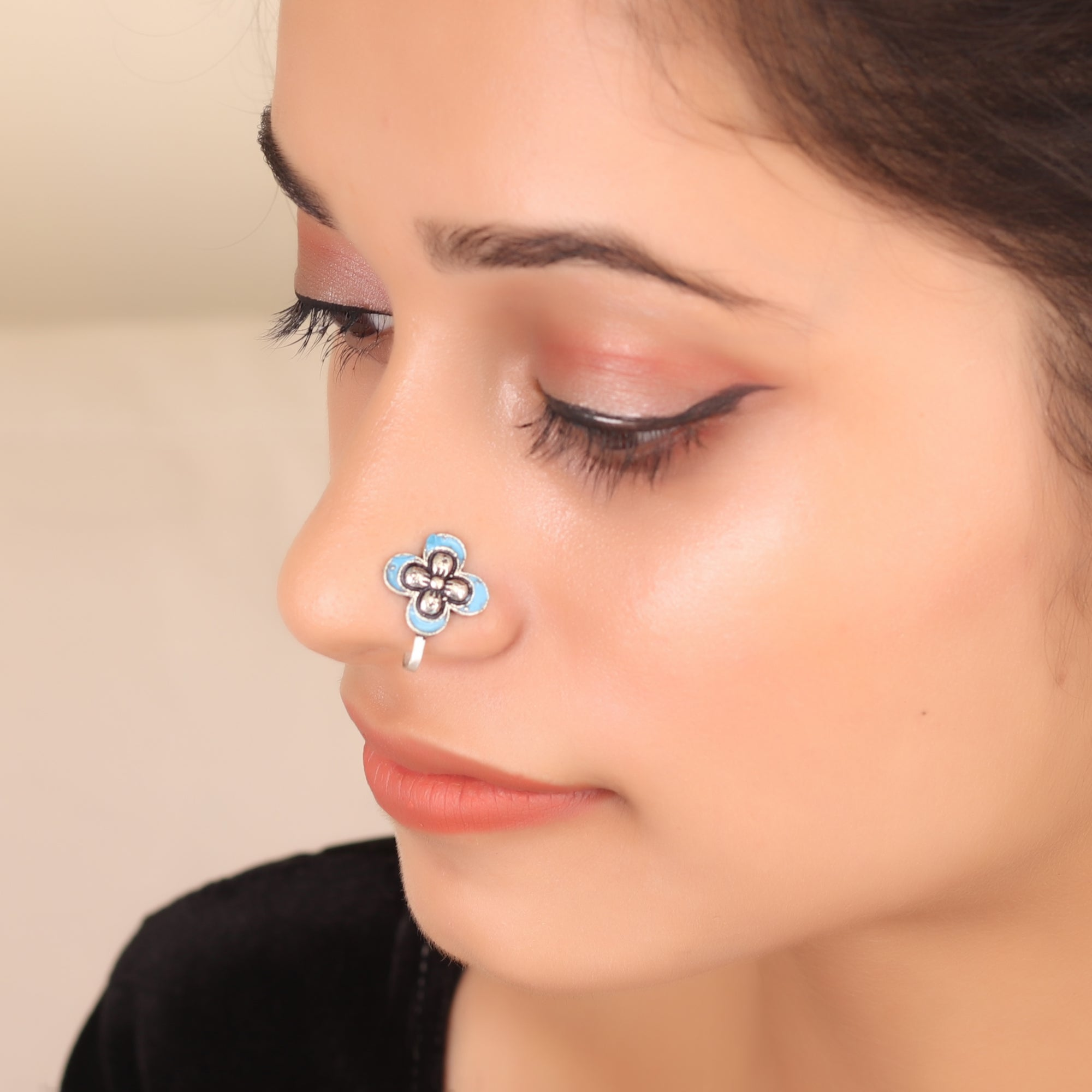 The Butterfly Nose Pin in Sky Blue