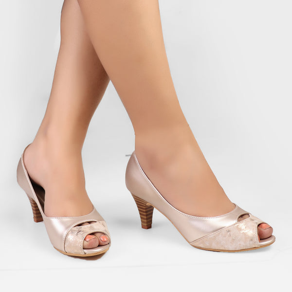 Foot Wear,Hint of Gold Kitten Heels - Cippele Multi Store