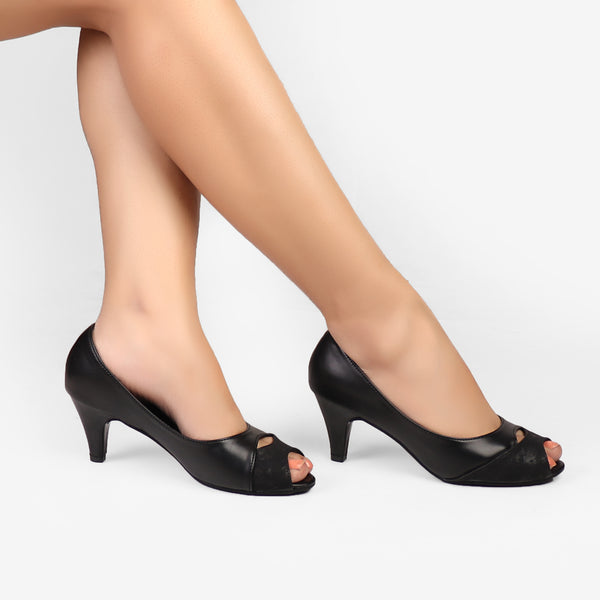 Foot Wear,Black Beauty Kitten Heels - Cippele Multi Store