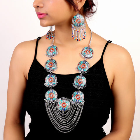 Necklace Set,Full Of Charm Necklace Set in Multicolor - Cippele Multi Store