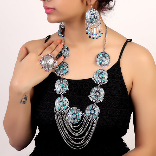 Necklace Set,Full Of Charm Necklace Set in Blue - Cippele Multi Store