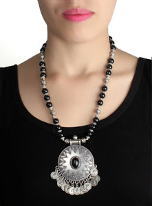 Necklace,Black and Silver Tribal Necklace - Cippele Multi Store