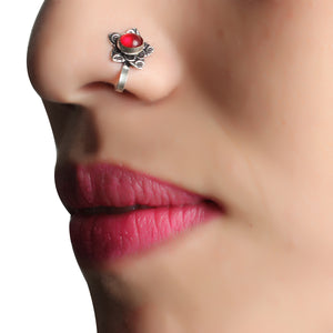 Nose Pin,Red Charm Flower Nose Pin - Cippele Multi Store