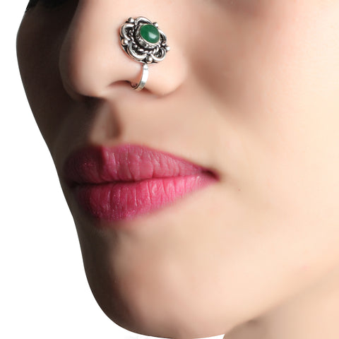 Nose Pin,Green Charm Flower Nose Pin - Cippele Multi Store