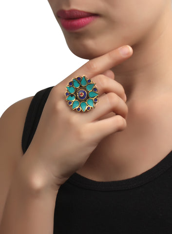 Ring,Blue Flower Ring - Cippele Multi Store