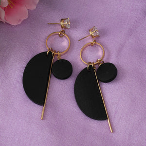 Earrings,Better Half Black Earrings - Cippele Multi Store
