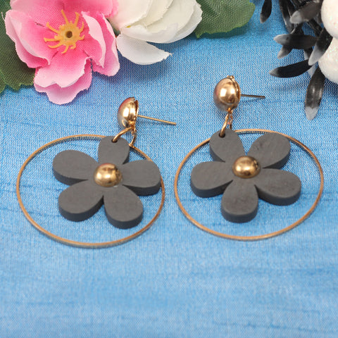 Earrings,Floret Vibes Grey Earrings - Cippele Multi Store