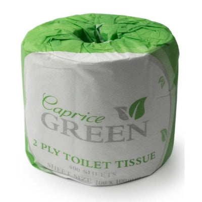 Caprice | Caprice Green Toilet Paper Roll 400 Sheet Individually Wrapped | Crystalwhite Cleaning Supplies Melbourne