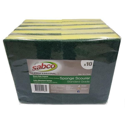Sabco | Sabco Sponge & Scourer Green and Yellow | Crystalwhite Cleaning Supplies Melbourne