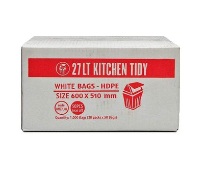 Crystalwhite Cleaning Supplies | 27Lt Black or White Kitchen Tidy Rubbish Bin Bags Liners - HDPE | Crystalwhite Cleaning Supplies Melbourne