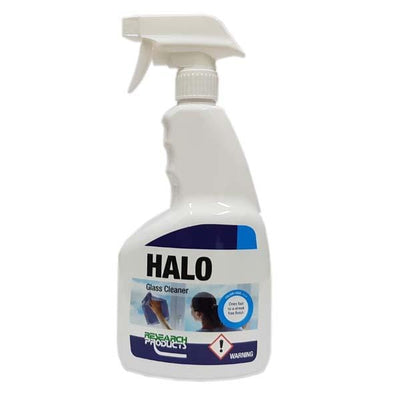 Research Products | Halo Fast Dry Glass Cleaner 750ml, 5Lt & 15Lt | Crystalwhite Cleaning Supplies Melbourne