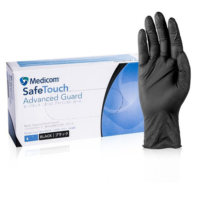 Medicom | Medicom Advance Guard Nitrile Gloves Black Powder Free | Crystalwhite Cleaning Supplies Melbourne