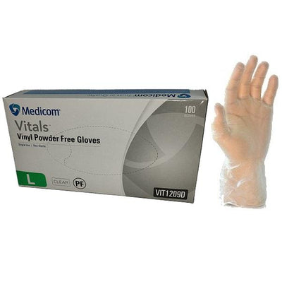 Medicom | Medicom Vital Vinyl Gloves Powder Free | Crystalwhite Cleaning Supplies Melbourne