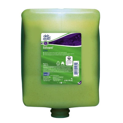 DEB | Solopol Lime Hand Cleanser 4 x 4L Cartridges | Crystalwhite Cleaning Supplies Melbourne