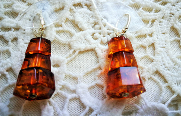 Natural amber pyramid earrings, handmade hexagonal shape, transparent