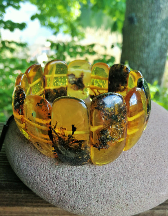 Classical baltic amber bracelet, natural cognac transparent amber, stretch, gift
