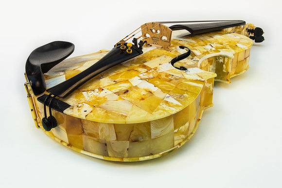 White amber violin, playing string instrument, patented innovation