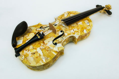 Unique white amber violin, amber laid playing  musical instrument