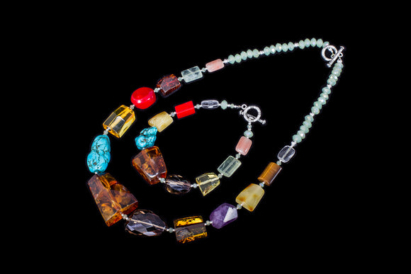 Colourful amber and semi-precious stones necklace