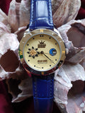 Amber Watches,  natural amber mosaic, blue genuine leather , كهرمان , #كهرب# ,gift for her - UAB Amber