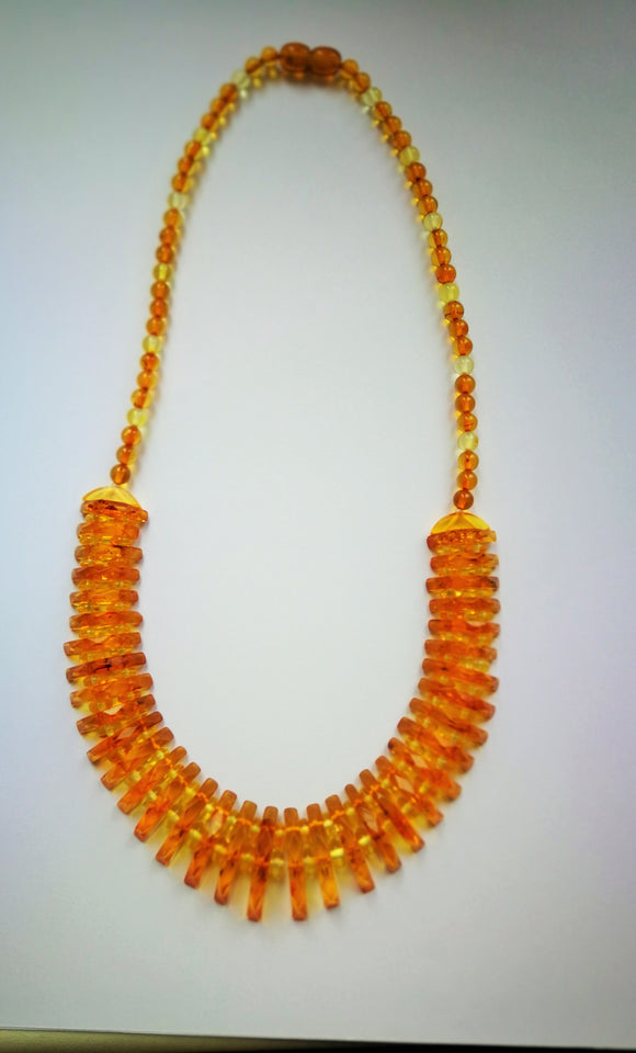 Genuine amber ,  Cleopatra statement necklace, faceted sparkling amber,  cognac amber, elegant gift