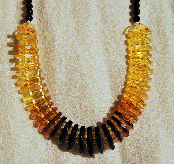 Sparkling amber Cleopatra,faceted baltic amber necklace,three shades beads,necklace for ladies