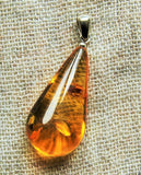 Teardrop pendant, genuine Baltic amber,  honey sparkled amber,  untreated pendant,  gift for her - UAB Amber
