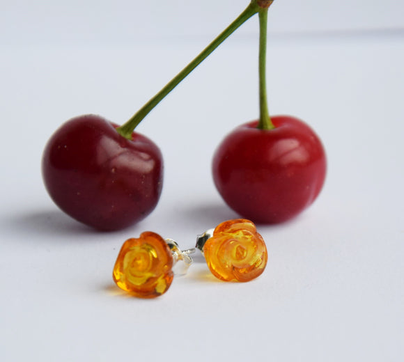 Cute Baltic amber silver studs, small amber roses, flower earrings