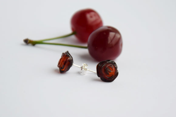 Baltic amber stud earrings, amber roses, cherry amber, sterling silver stud