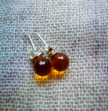 Amber earrings,silver studs,transparent amber,tiny urban earrings