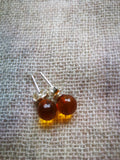 Baltic amber earrings,amber studs earrings, silver stud earrings,untreated amber - UAB Amber