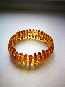 Baltic amber bracelet, genuine amber , faceted  cognac color  beads, stretch,gift - UAB Amber